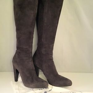 Prada charcoal suede High boots. 100 % Authenticd